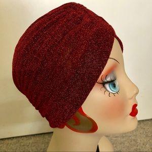 ✨Metallic Burgundy vintage retro pinup turban